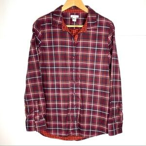 Garnet Hill plaid button down organic cotton shirt